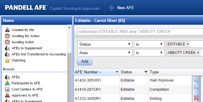 Pandell AFE tracking dashboard showing a list of AFEs being sorted and filtered by area of operation