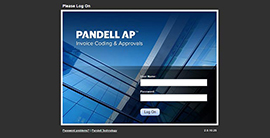 Pandell AP cloud software sign in screen