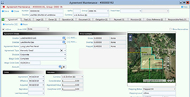 Pandell GIS dashboard showing a land agreement maintenance panel containing map details and other related data