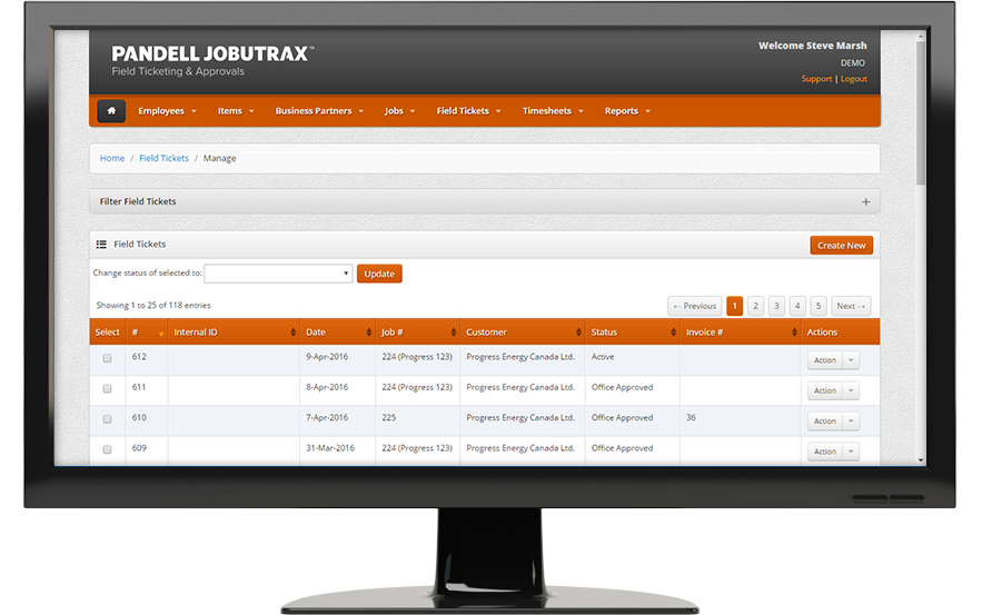 Pandell Jobutrax showing a list of field tickets