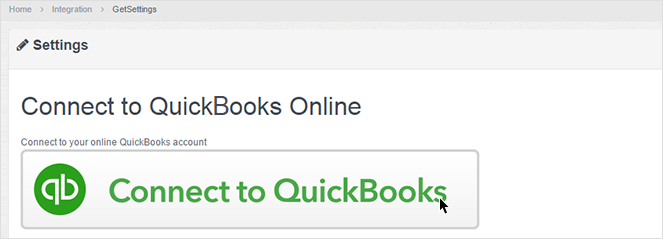 User clicking Connect to QuickBooks button