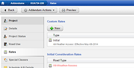 Pandell Roads interface displaying addendum rates by road type and project status