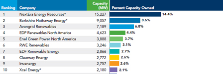 U.S. wind power capacity ownership market share